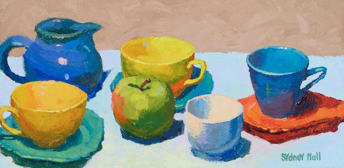 Teacups, 8x16, SOLD