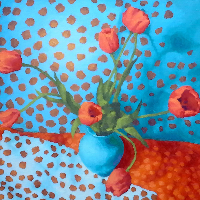Tulips and Something Spotty- two, 24 x 24, Commission, SOLD