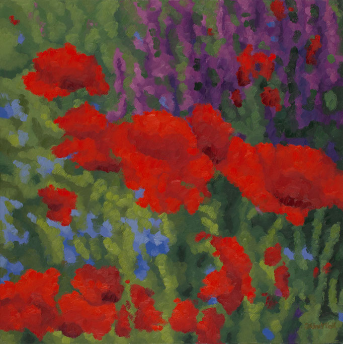 Poppy Scape, 24 x 24, SOLD