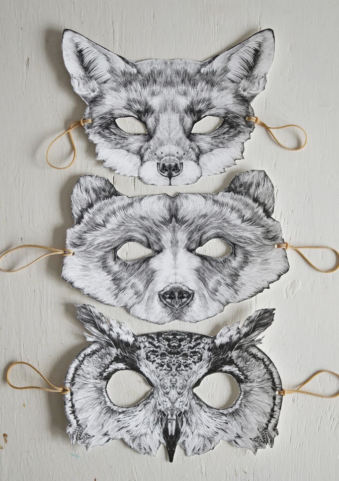 'Maskcards' a series of postcards from which you can cut-out masks