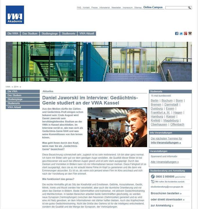 Interview der VWA Verwaltungs- und Wirtschaftsakademie I.
