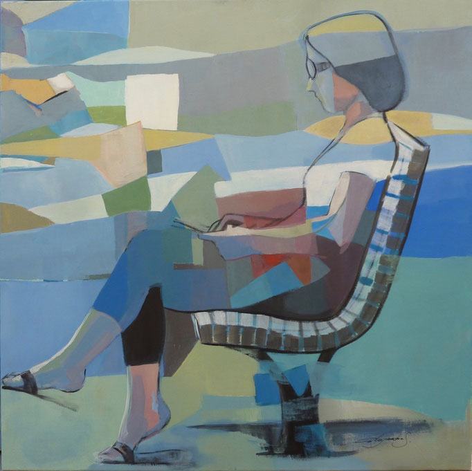 Woman sitting on the bench 27,55 X 27,55