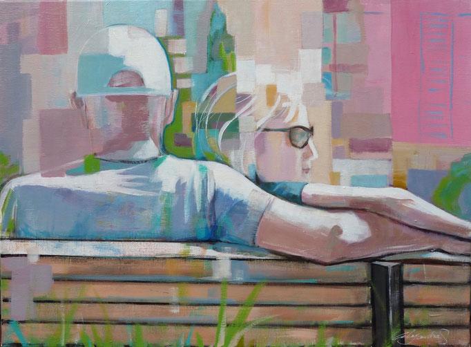 Couple assis de dos dans un parc. 54X73 cm