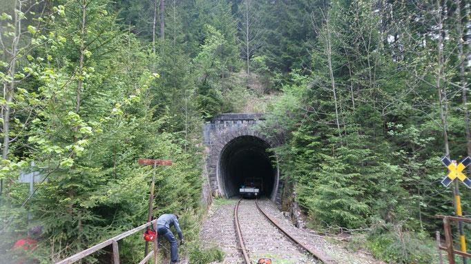 Das Tunnelportal vor dem Freischnitt