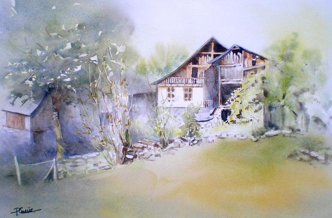 Non Disponible - Vieilles maisons du Couserans - 50x65cm (dimension avec cadre)