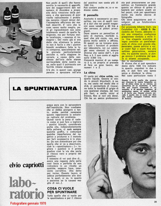 Fotografare genn. 1970 - articolo sulla china solida - importatore Ditta Alberto Colli, San Benedetto del Tronto