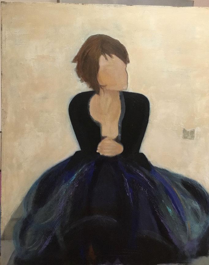WARTEN.... Acryl auf Leinwand 80 x 100 cm