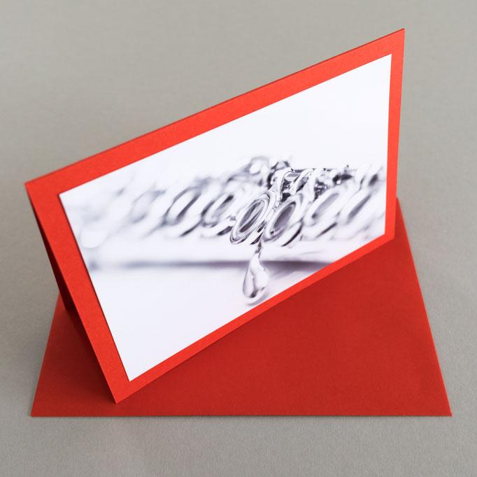 "Motiv: ""Querflöte 2"", 9 cm x 13 cm - Kartenfarbe: Rot"