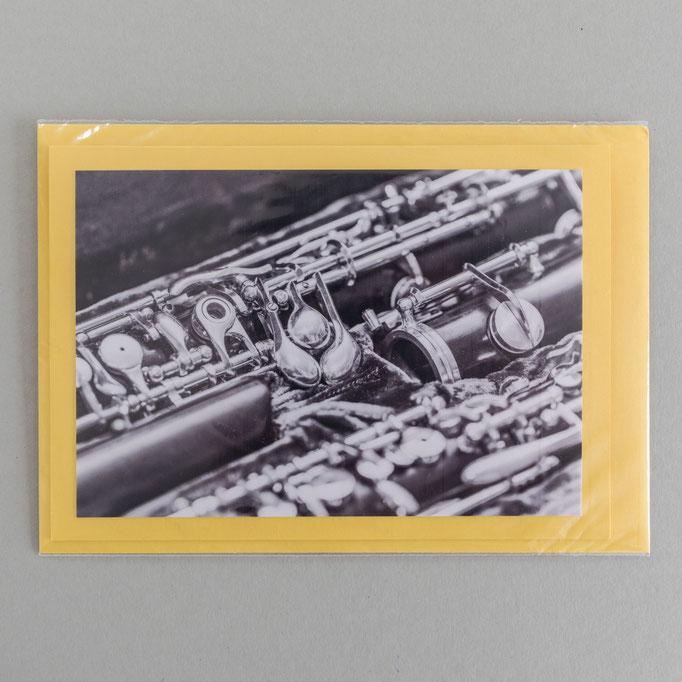 "Motiv: ""Oboe"", 9 cm x 13 cm - Kartenfarbe: Gelb (mit Umverpackung)"