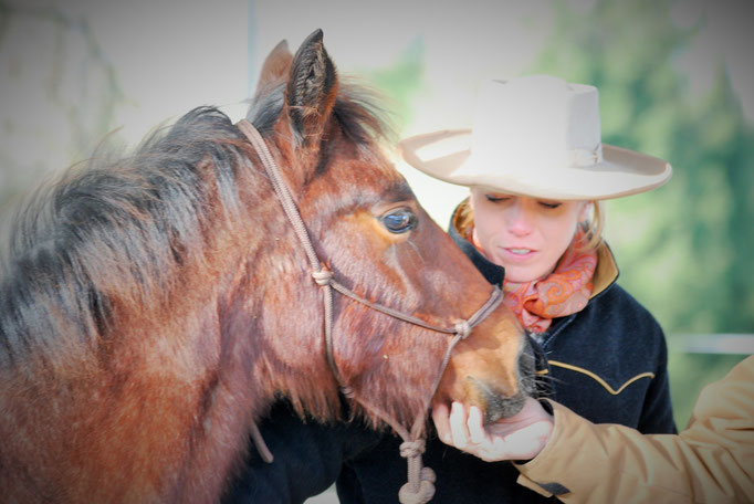 Haylee mit ihrer neuen Besitzerin Kathrin Weidner (von Copper Mountain - Horsemen's ranch and lodge)