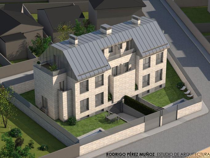 Proyecto de dos viviendas pareadas en Pozuelo de Alarcón, Rodrigo Perez Muñoz Arquitecto.