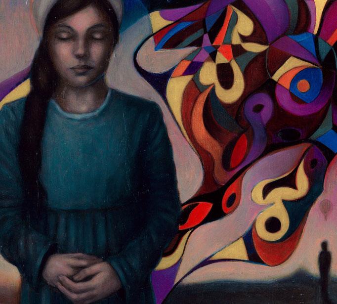 «Yo adivino el parpadeo» óleo sobre papel - 35 x 35 cm - 2020
