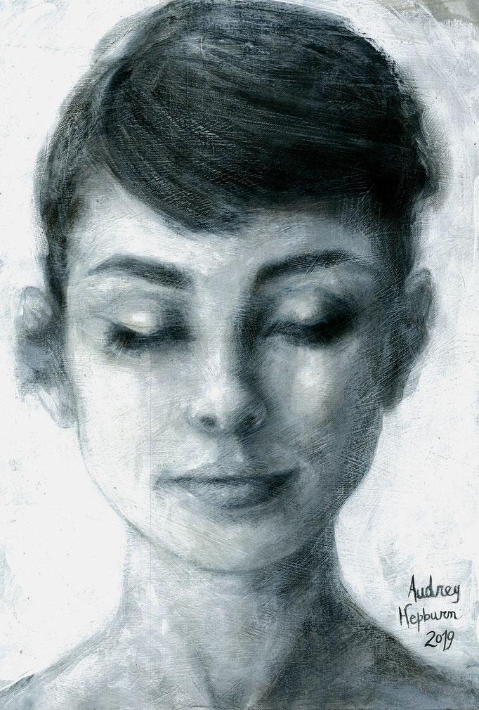 «Audrey Hepburn» acrílico y tinta china sobre papel - 40 x 30 cm - 2019