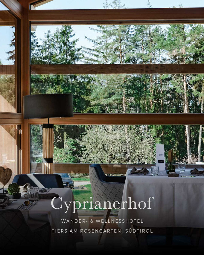 die schönsten Hotels in den Alpen: CYPRIANERHOF, Wellnesshotel, Tiers am Rosengarten, Dolomiten, Südtirol/Italien