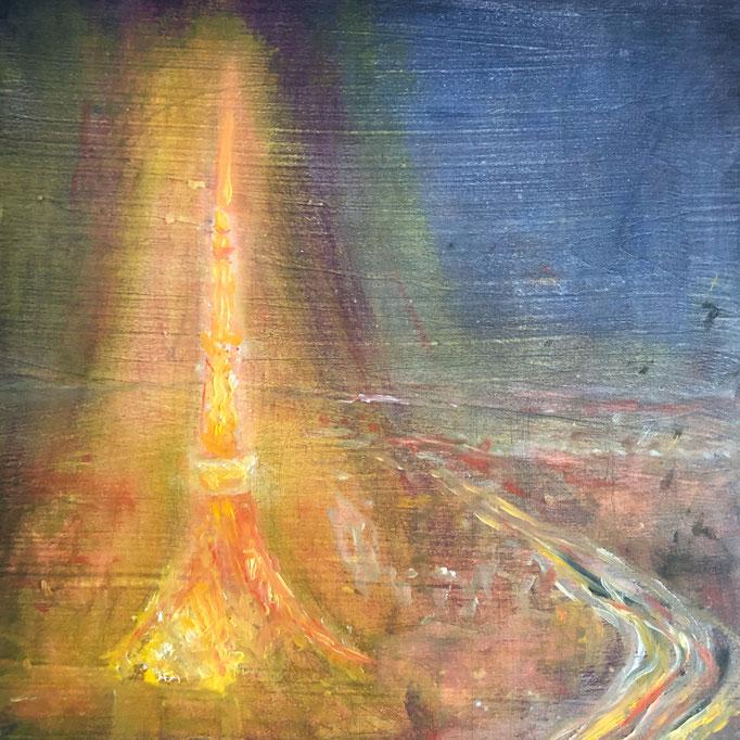 「トーキョーナイトビュー」 油彩、アクリル、パネルにミュー・グラウンド 22.7×22.7㎝ 2020
