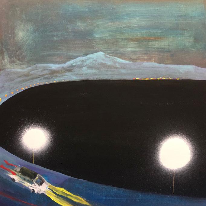 「海岸線」 アクリル、アクリルスプレー、パネルにミュー・グラウンド 65.2×65.2㎝ 2020
