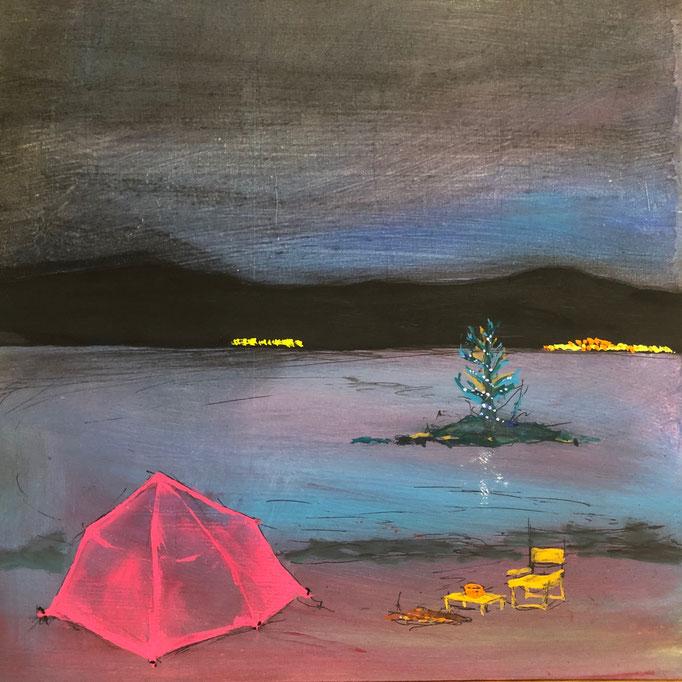 「夜明け」 アクリル、パネルにミュー・グラウンド 22.7×22.7㎝ 2020