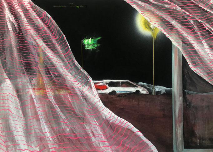 「風とカーテン」 アクリル、パネルにミュー・グラウンド 65.2×91.0㎝ 2020