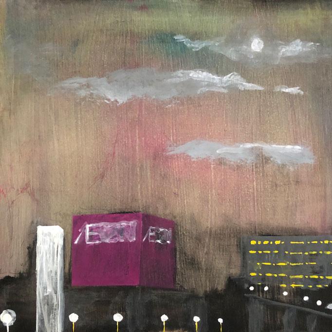 「あなたの街」 アクリル、パネルにミュー・グラウンド 22.7×22.7㎝ 2020