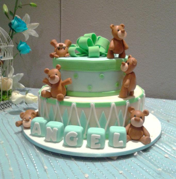 pastel fondant baby shower osos
