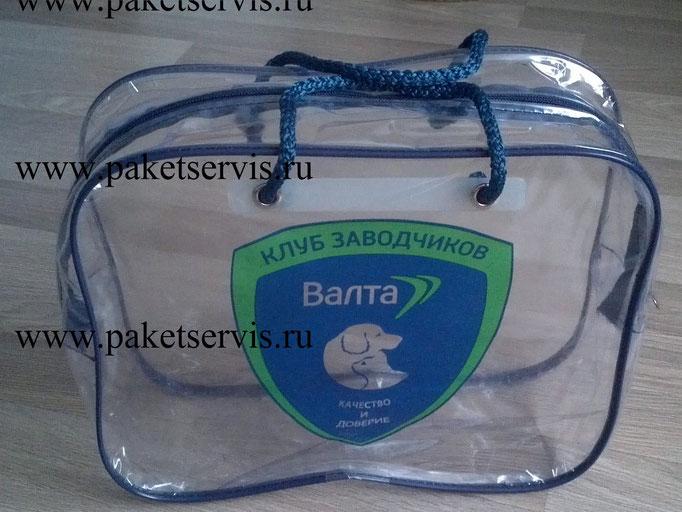 Сумка пвх с логотипом две ручки шнур окантовка кедер