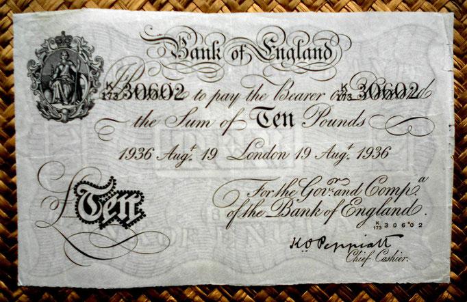 Reino Unido 10 pounds 1936 -Britannia serie A- uniface