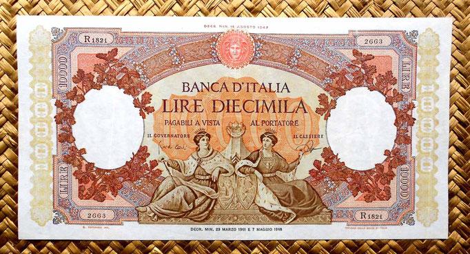Italia 10000 liras 1961 (244x124mm) anverso