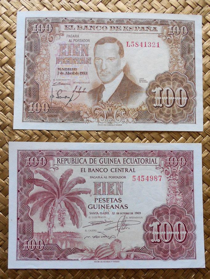 España 100 pesetas 1953 vs Guinea Española 100 pesetas 1969 anverso