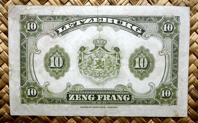 Luxemburgo 10 francos 1944 reverso
