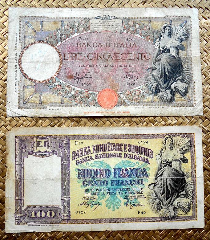 Italia 500 liras 1941 vs. Albania 100 frangas1945 anversos