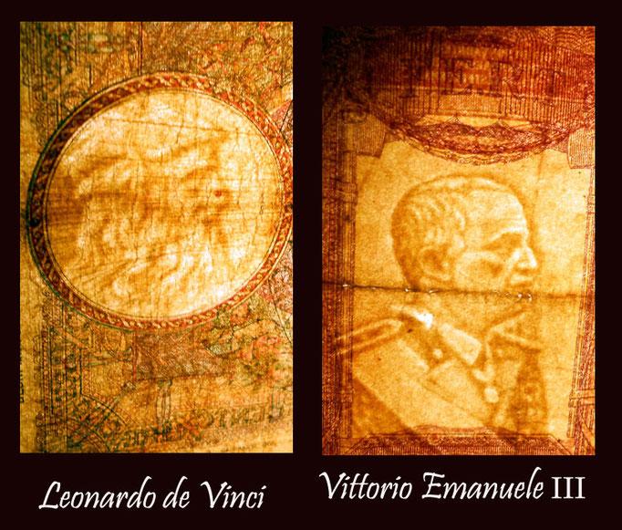 Italia 500 liras 1941 vs. Albania 100 frangas 1945 marcas de agua
