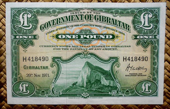 Gibraltar 1 libra 1971 (144x92mm) pk.15c anverso
