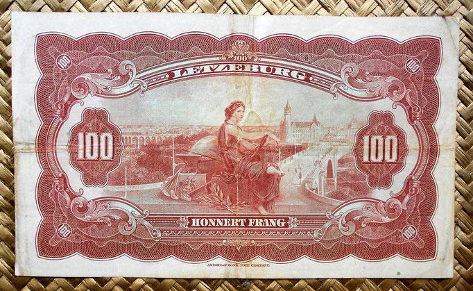 Luxemburgo 100 francos 1944 reverso