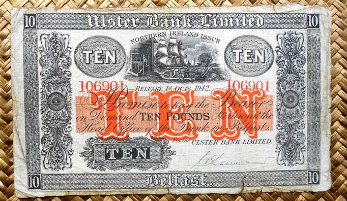 Irlanda del Norte 10 libras 1942 Ulster Bank Limited -Belfast (205x120mm) anverso