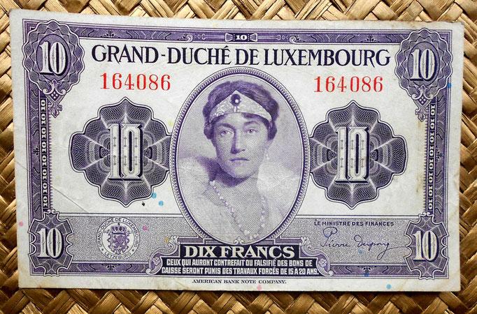 Luxemburgo 10 francos 1944 anverso