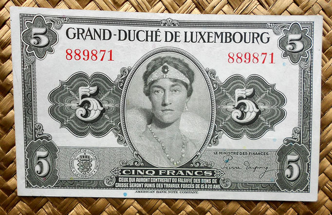 Luxemburgo 5 francos 1944 anverso
