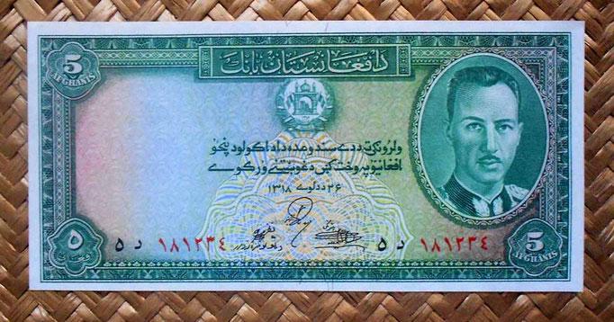 Afganistan 5 afganis 1939 (148x73mm) anverso
