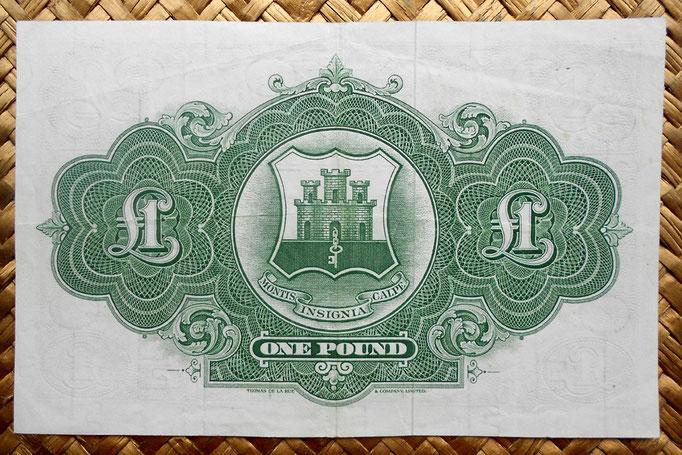 Gibraltar 1 libra 1971 pk.15c reverso