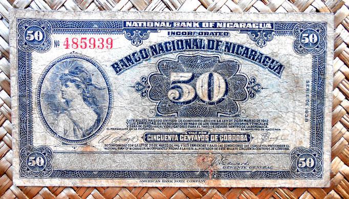 Nicaragua 50 centavos de cordoba 1938 (126x70mm) anverso