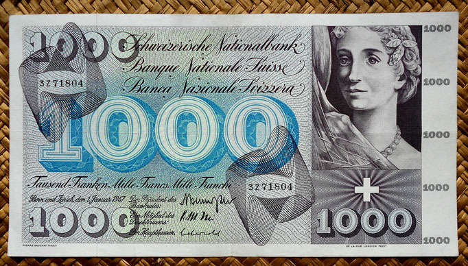 Suiza 1000 francos 1967 (228x124mm) anverso