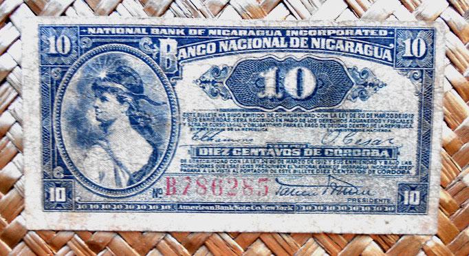 Nicaragua 10 centavos de cordoba 1918 (100x50mm) anverso
