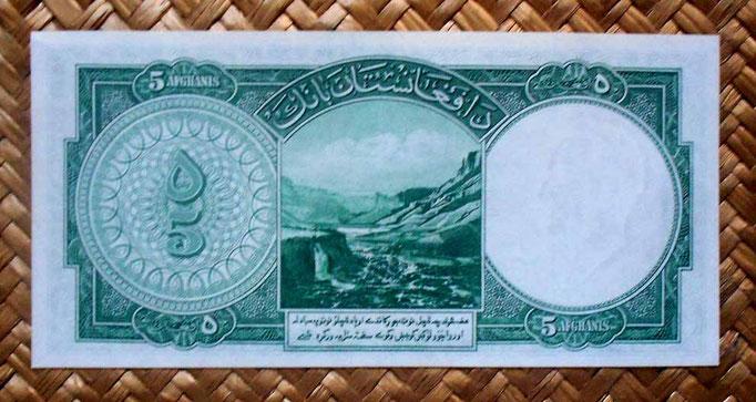 Afganistan 5 afganis 1939 reverso