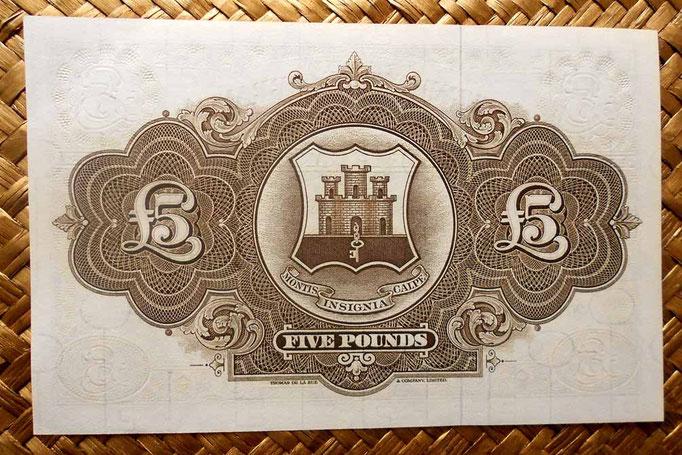 Gibraltar 5 libras 1975 pk.19b reverso