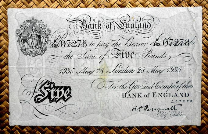 Reino Unido 5 pounds 1935 -Britannia serie A- uniface