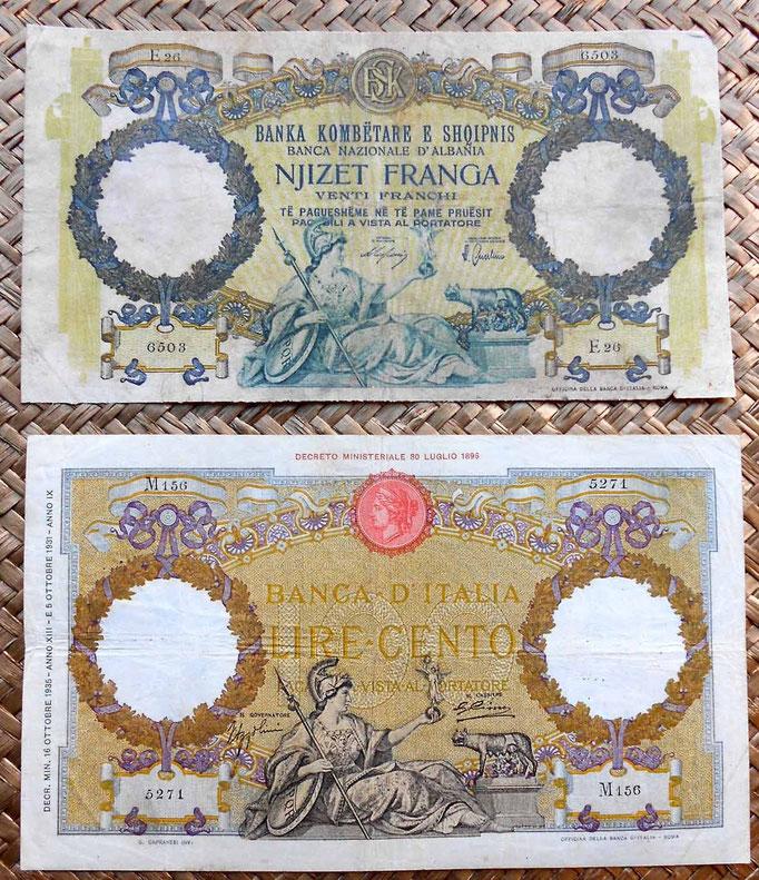 Albania 20 franga 1939 vs. Italia 100 liras 1935 anversos
