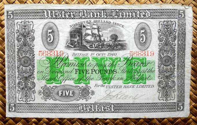 Irlanda del Norte 5 libras 1940 Ulster Bank Limited -Belfast (200x120mm) anverso