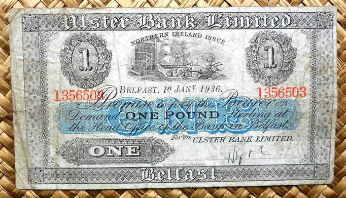 Irlanda del Norte 1 libra 1936 Ulster Bank Limited -Belfast (152x84mm) anverso