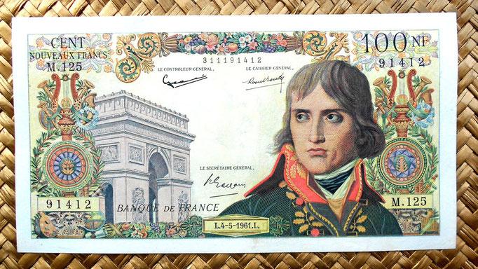 Francia 100 nuevos francos 1961 (172x92mm) anverso