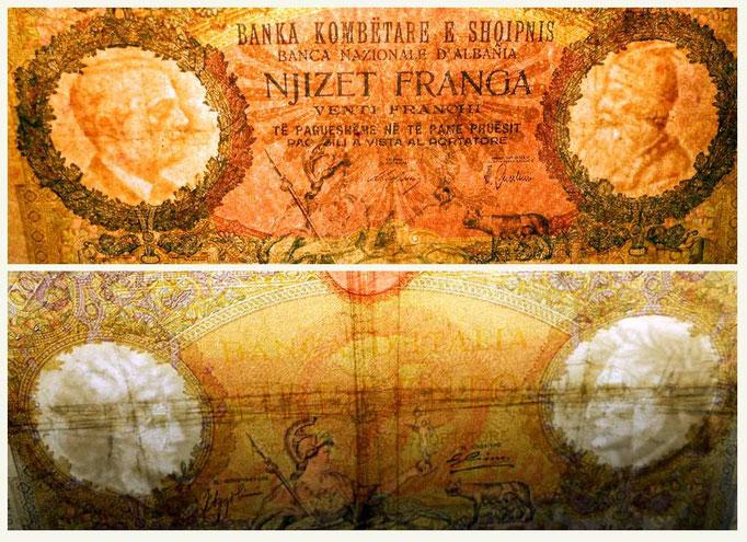 Albania 20 franga 1939 vs. Italia 100 liras 1935 marcas de agua