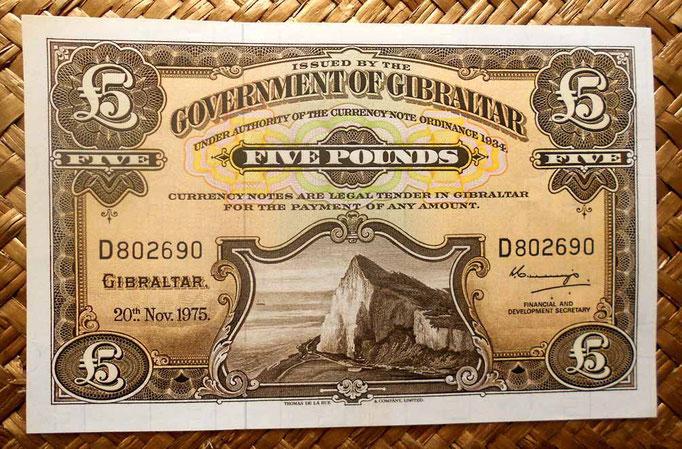 Gibraltar 5 libras 1975 (146x92mm) pk.19b  anverso